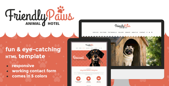 Friendly Paws template is perfect for website copy placement for pet shops