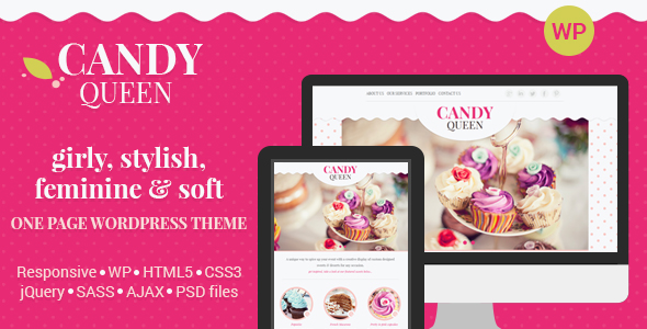 Candy Queen template is perfect for website copy placement